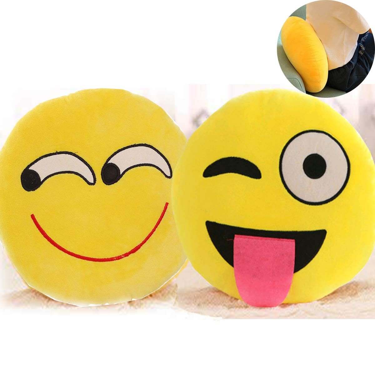 Mengger Cojín Emoticono Emoji Almohada Peluche 2 Piezas ...