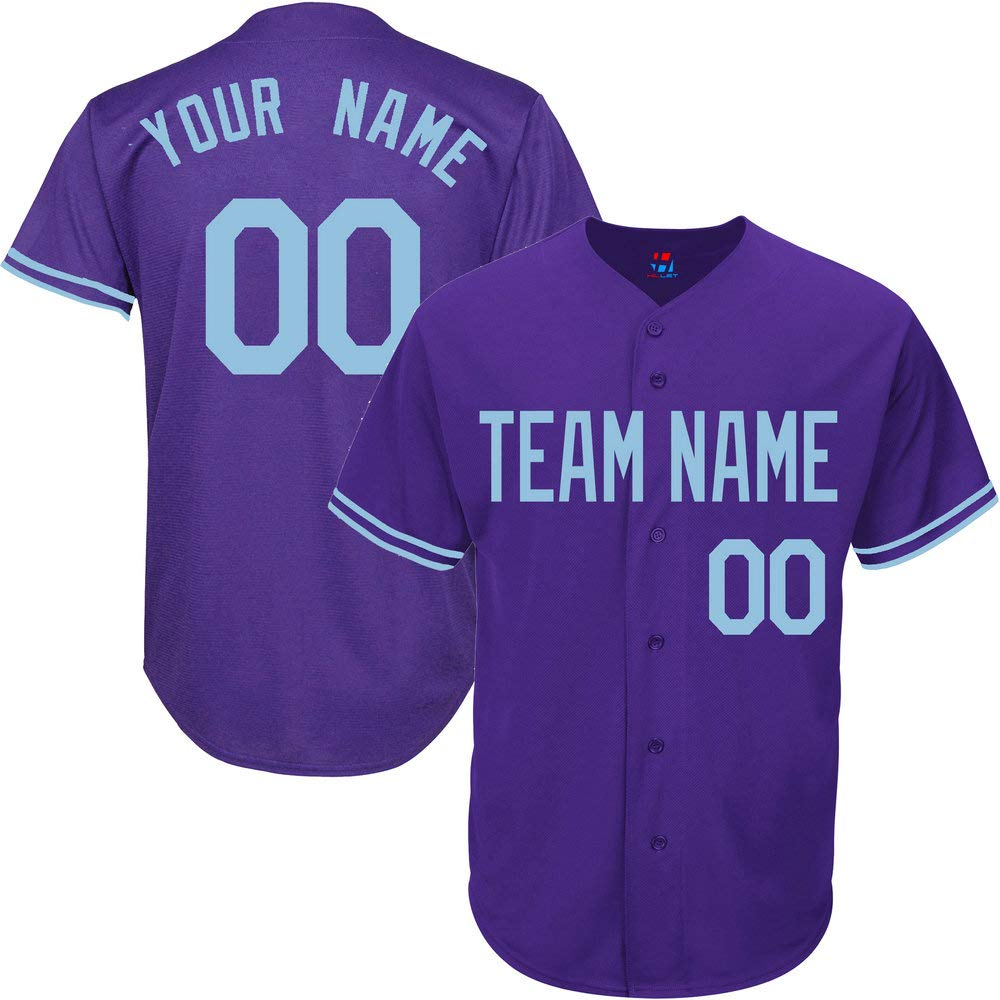 Purple Custom Baseball Jersey for Youth Throwback Embroidered Team Player Name & Numbers,Light Blue Size 3XL by Pullonsy