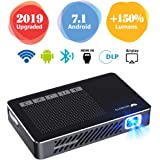 "WOWOTO A5 Pro New Upgraded 50% Brighter Portable DLP Video Projector 150"" Home Theater Projectors with Android 7.1 BT4.0 Support WiFi Wireless Screen Share 1080P HDMI USB SD Card"