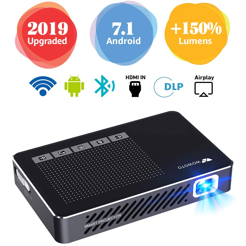 Mini Projector WOWOTO A5 Pro 100ANSI Android 7.1 2+32G Portable DLP Video Projector 150'' Home Theater Projectors with BT4.0 Support WiFi Wireless Screen Share 1080P HDMI USB SD Card