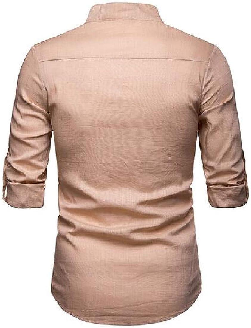 Domple Mens Plus Size Button Up Long Sleeve Casual Business Linen Dress Work Shirt