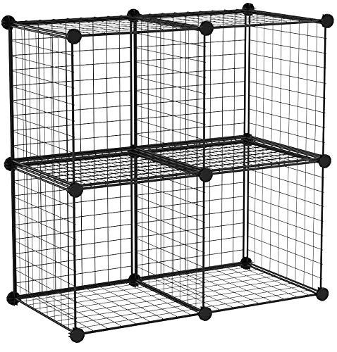 AmazonBasics 4 Cube Grid Wire Storage Shelves, Black