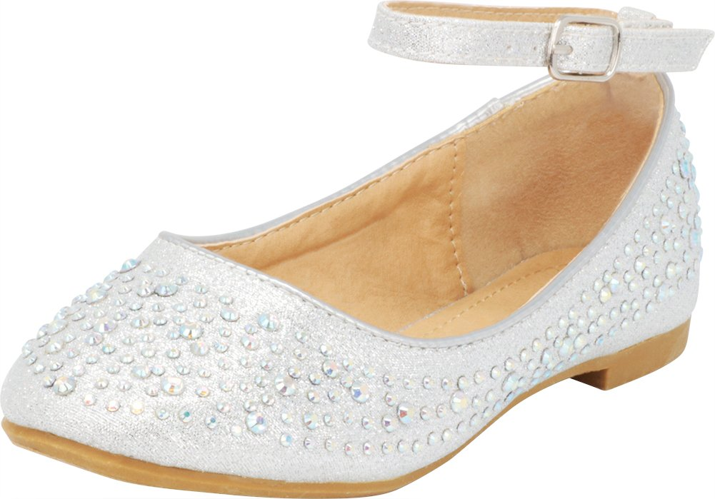 Cambridge Select Girls' Closed Round Toe Crystal Rhinestone Buckle Ankle Strap Ballet Flat (Toddler/Little Kid/Big Kid),2 M US Little Kid,Silver
