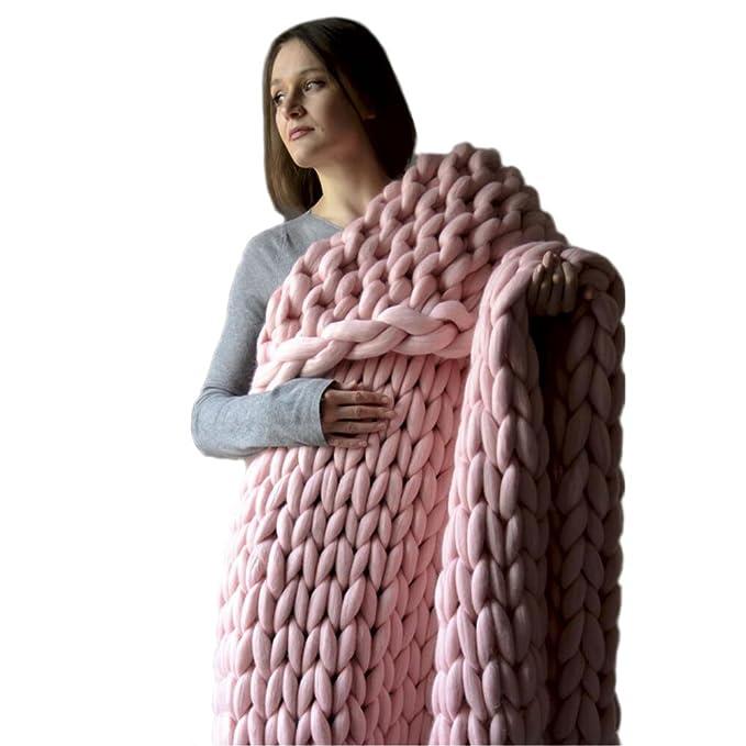 1 opinioni per puramente fatto a mano gigante grosso coperta di lana gettare knit coperta del