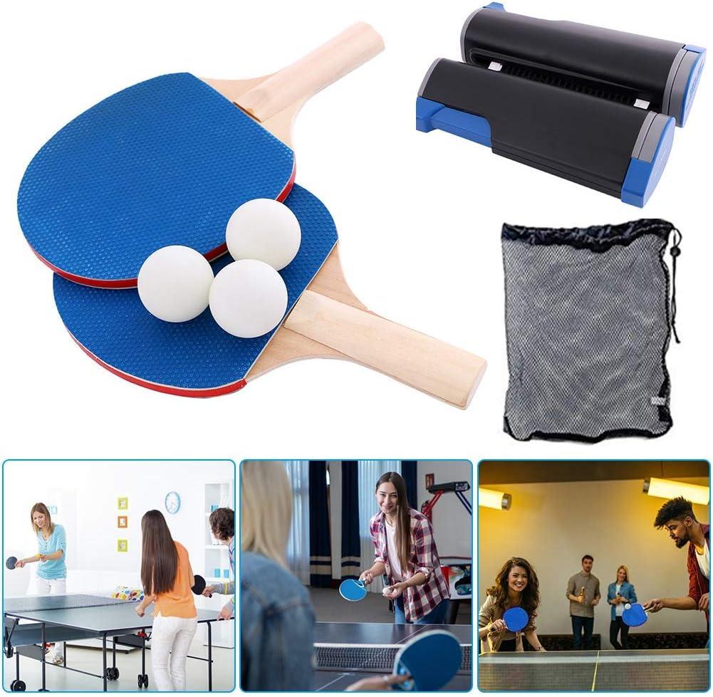 SYCASE Juego de Pelota de Ping Pong Juego de Tenis de Mesa retráctil portátil Juego para niños Adultos al Aire Libre en Interiores (1 Red retráctil, 1 Bolsa de Malla, 2 Palos de Ping Pong, 3 Bolas)