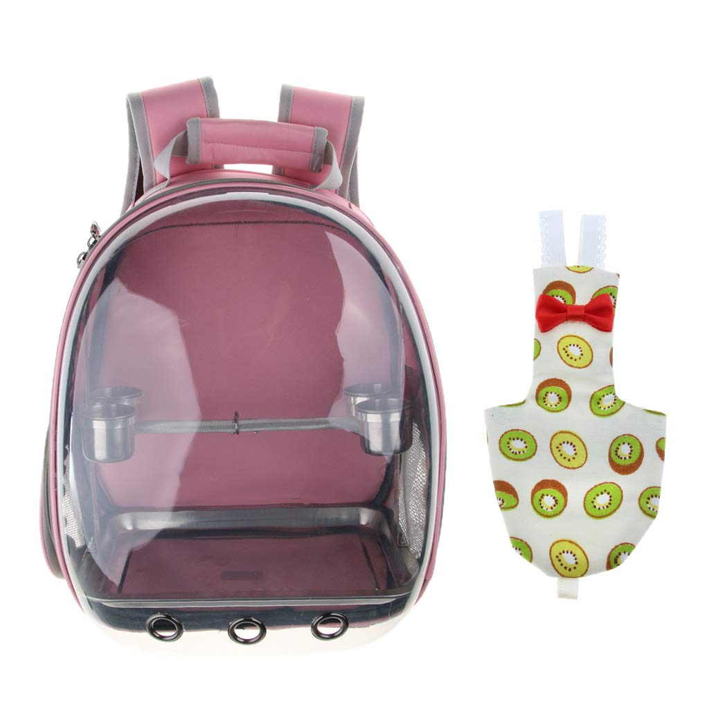 Baoblaze Transparent Pet Breathable Pet Parred Travel Space Capsule Backpack Carrier with Kiwi Pattern Bird Fashion Nappy Diaper (Pink)