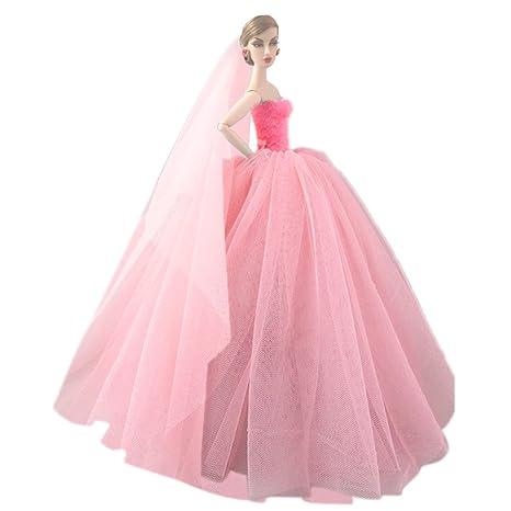 Amazon.es: Elegante hada niña muñecas juguetes Vestido de vestidos de fiesta trajes ropa con cabeza de novia velan accesorios de la muñeca de Barbie ...