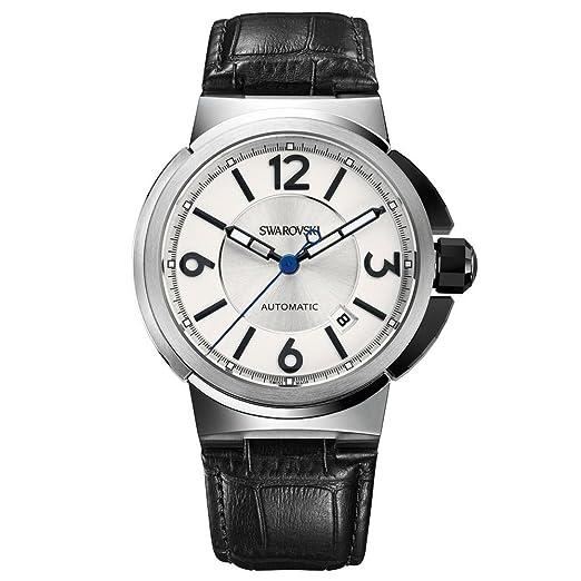 Swarovski Piazza Grande de los hombres reloj automático con esfera plateada Correa de piel negro y 43 mm referencia 1094354 Swiss Made: Amazon.es: Relojes