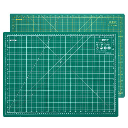 "ZERRO Professional Self-Healing Cutting Mat Double Sided Thick 5-Ply with Imperial/Metric 18"" x 24"" (A2)"