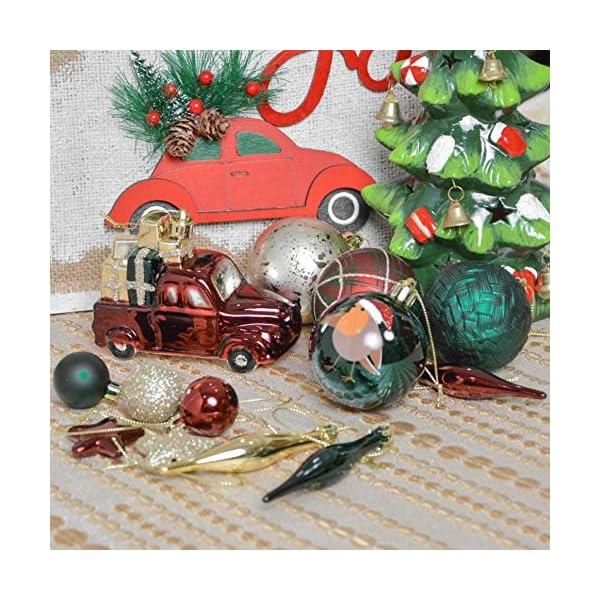 Valery Madelyn Palle di Natale 70 Pezzi di Palline di Natale, 3-6 cm di Strada di Campagna Rosso Verde e Oro Infrangibile Ornamenti di Palla di Natale Decorazione per la Decorazione 6 spesavip