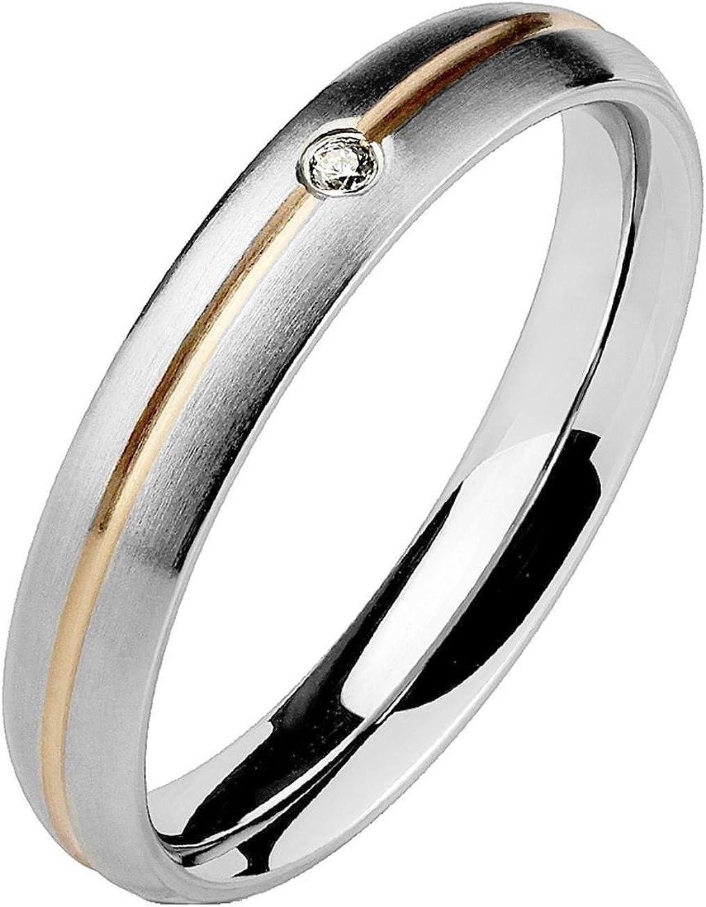 Paula & Fritz® tomo anillo de acero inoxidable Chirurgenstahl 316L con tiras y Roségold einzelnem piedra Ringgrößen disponible 47 (15) - 61 (19,5)