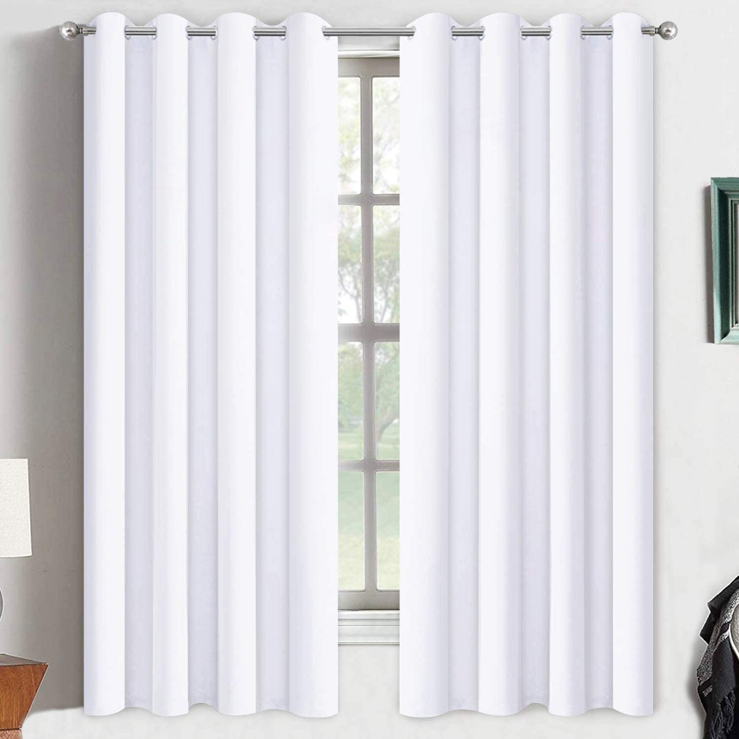 Yakamok Thermal Insulated Curtains,Room Darkening Grommet for Bedroom/Living Room,2 Tie Backs Included (2 Panels, 52 Inch Wide by 63 Inch Long, Pure White)