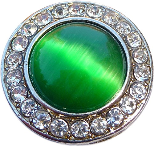 Green Cats Eye Gem Snap Charm GS833 (Standard 18mm Size)