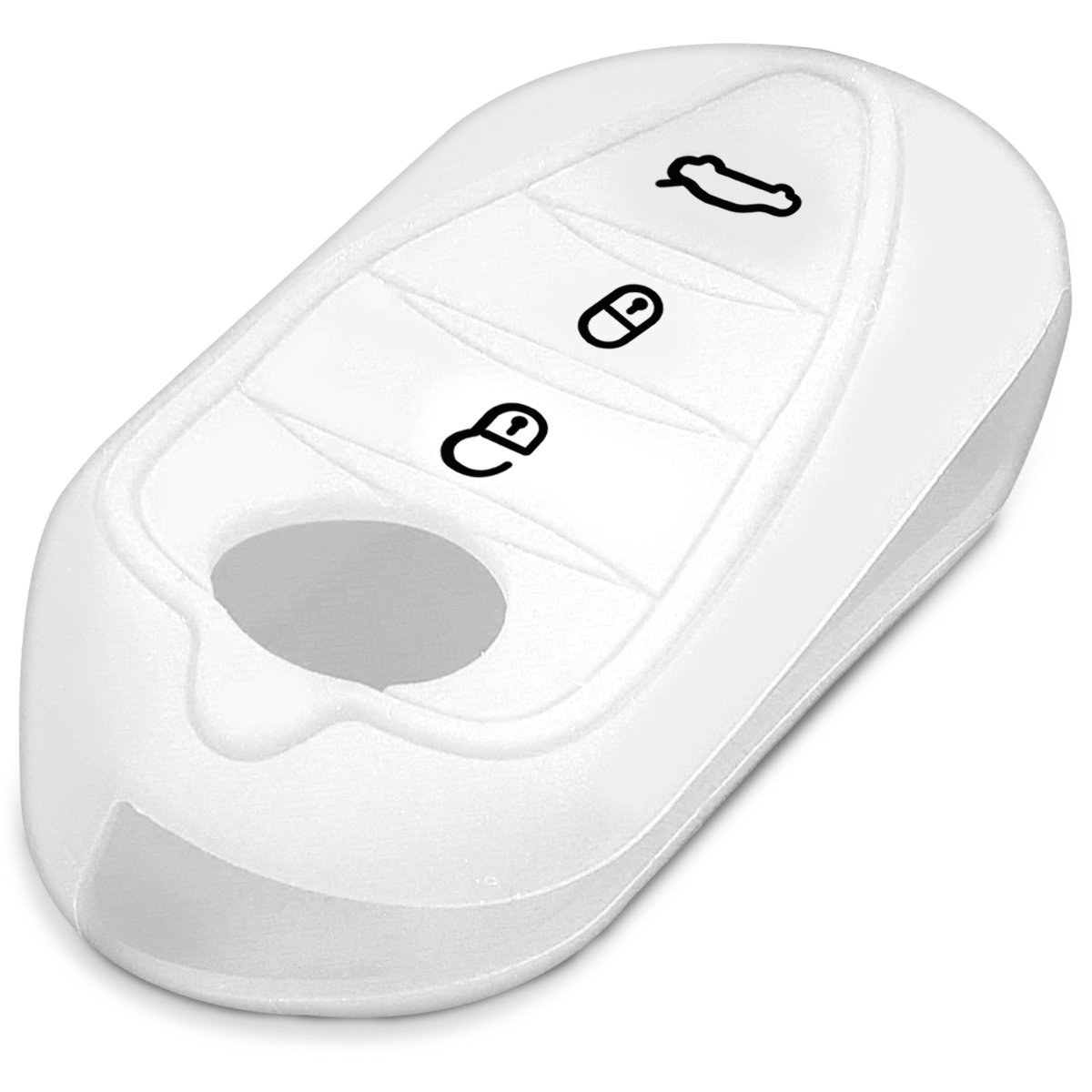 Silicone Protective Key Fob Cover for Alfa Romeo 3 Button Car Flip Key White kwmobile Car Key Cover for Alfa Romeo