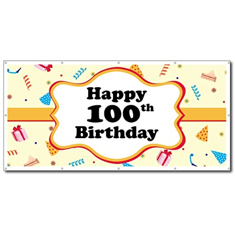 VictoryStore Happy Birthday Banners 100th Party Hats Vinyl Banner Size 3