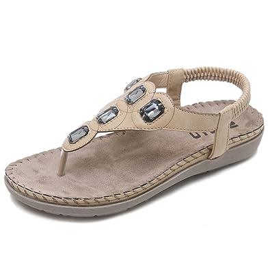 e74ab398cf33 Women s Open Toe Sandals Bohemian Beaded Slingback Woven Rope Beach Shoes(Beige  35 4.5