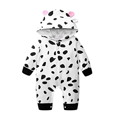 3f66ddb78 Amazon.com: LNGRY Baby Romper,Toddler Newborn Kids Girls Boys Cute Cartoon  Cow Print Hooded Romper Jumpsuit Outfits Clothes: Clothing