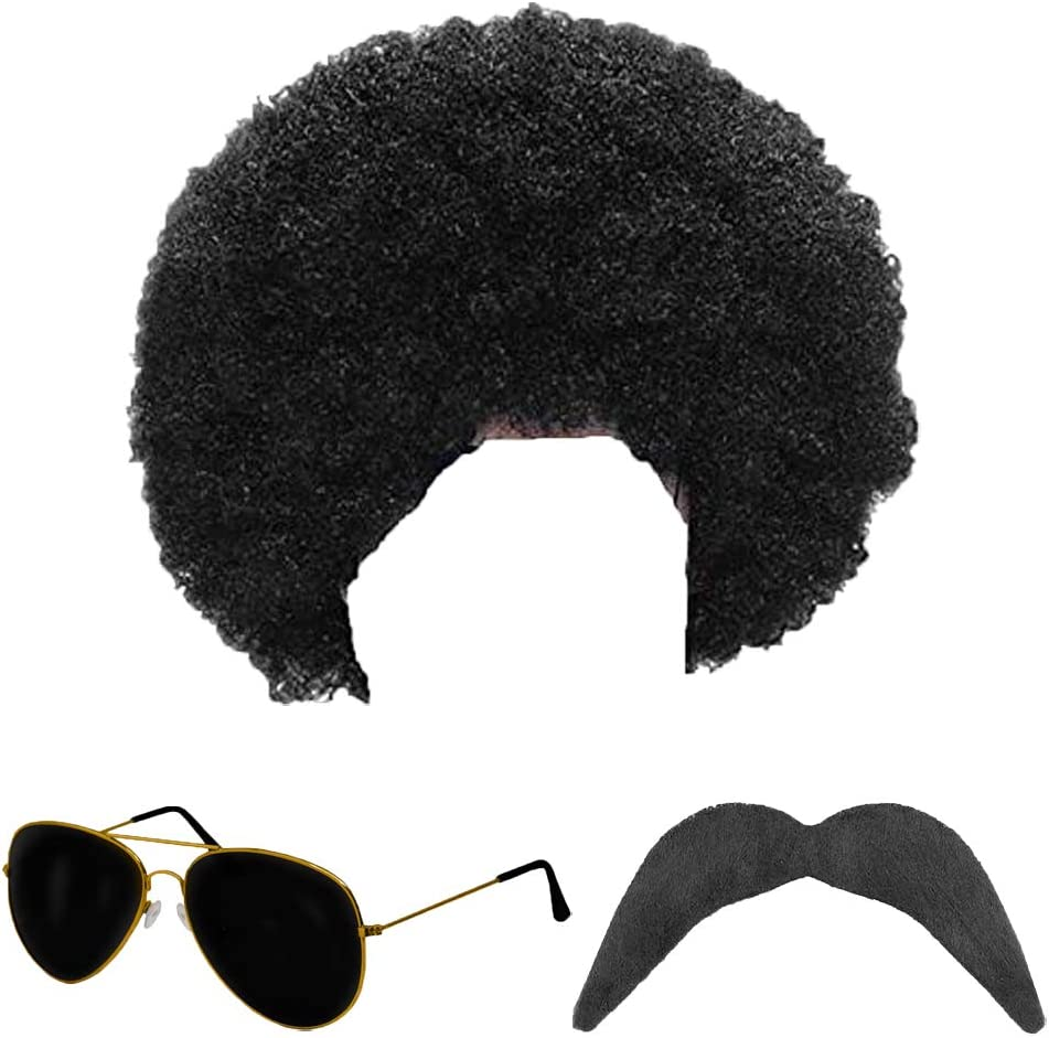 Scouser Wig /& Moustache Mens Fancy Dress Sports 80s Fun Facial Hair Costume Set