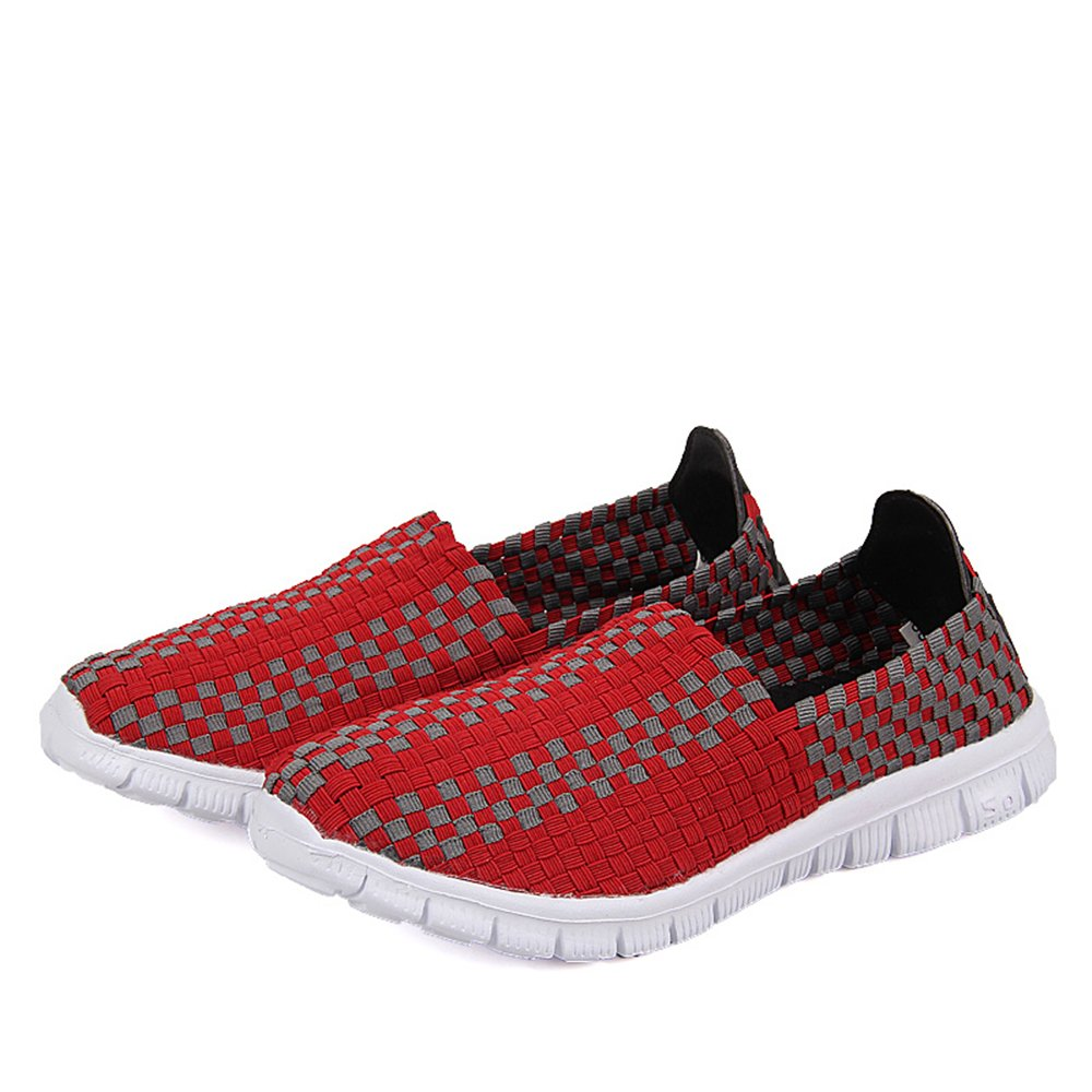 YMY Women's Woven Sneakers Casual Lightweight Sneakers - Breathable Running Shoes B07DXQ4959 EU39/US Men6.5 Women8.5(9.84 In)|Red
