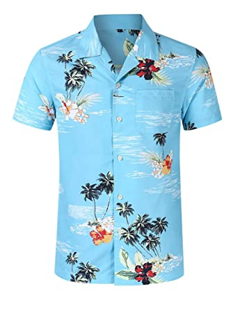 45d50171 iNewbetter Summer Hawaiian Shirts Short Sleeve Pocket Tropical Floral Print  Beach Wear Casual Shirts IB23 181028