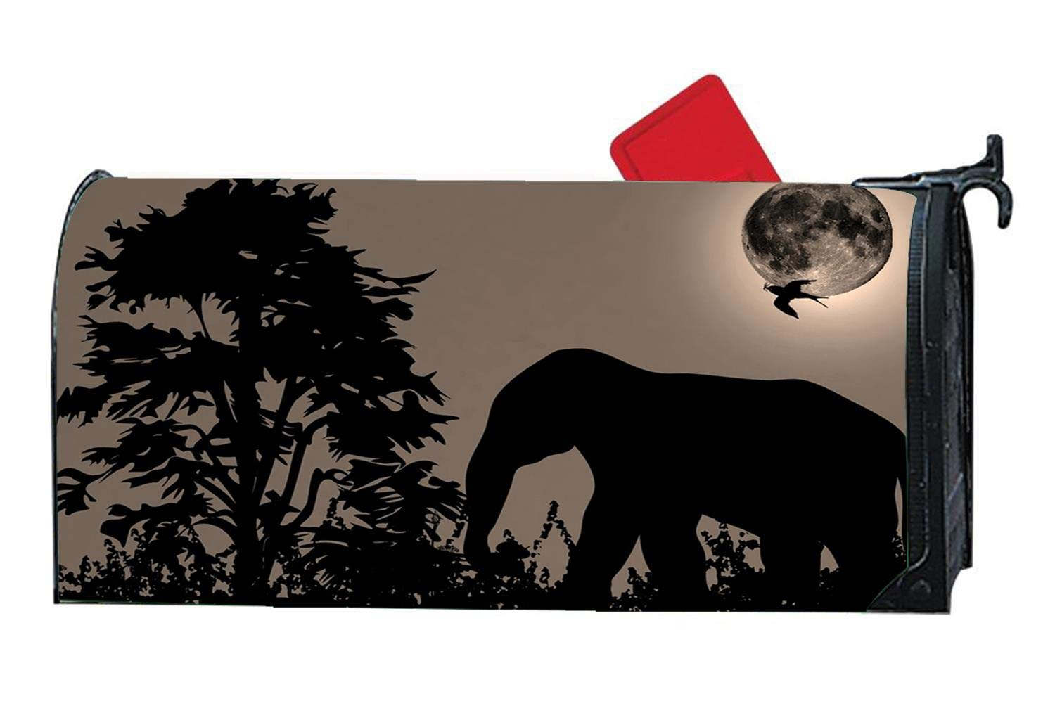 Elephant and Swallow Moon Against Light Sky West Jungle Magnetic Mailbox Cover Standard Mailbox Wrap with Design Size 6.5 x 19 Inches