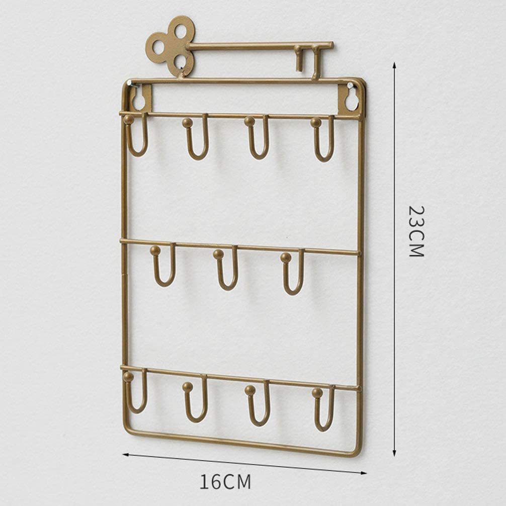 BESPORTBLE Wall Mounted Key Chain Hanging Board Key Hanger and Jewelry Rack Iron Storage Organizer for Entryway Bathroom Bronze