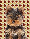 Caroline's Treasures KJ1209GF Fall Leaves Yorkie Puppy/Yorkshire Terrier Flag, Small, Multicolor For Sale