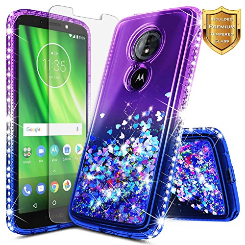 Moto G6 Play Case, Moto G6 Forge w/ [Tempered Glass Screen Protector], NageBee Glitter Liquid Quicksand Flowing Sparkle Bling Diamond Clear Cute Case for Motorola Moto G6 Play XT1922 (Purple/Blue)