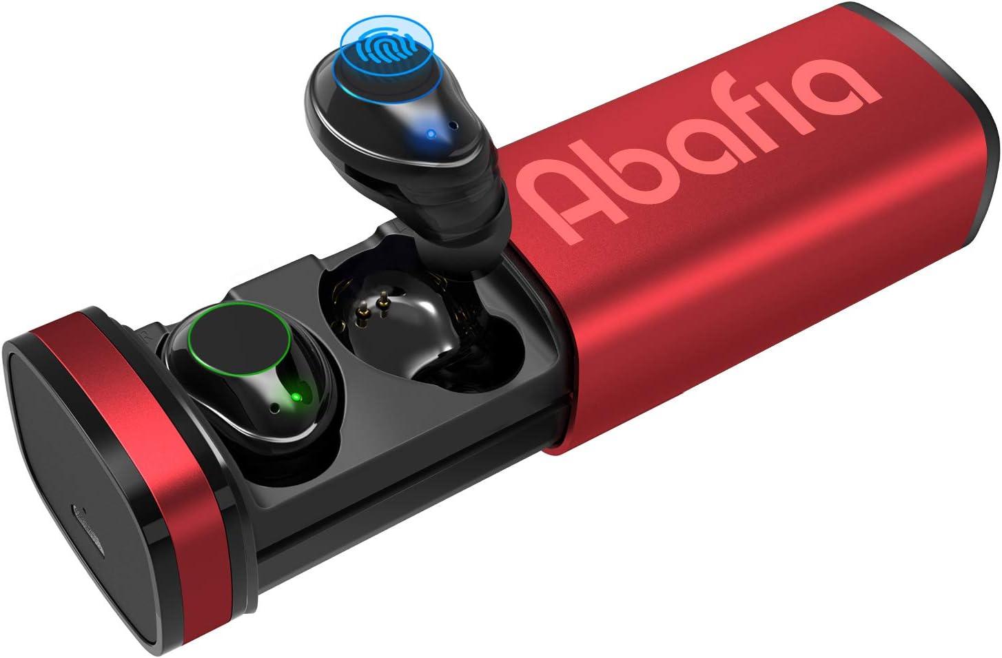 Abafia Auriculares Bluetooth 5.0, Auriculares inalámbricos Mini Invisibles In Ear con Micrófono Incorporado Estéreo Auricular Deportivo con Caja de Carga para Samsung/iPhone/Huawei (Rojo)
