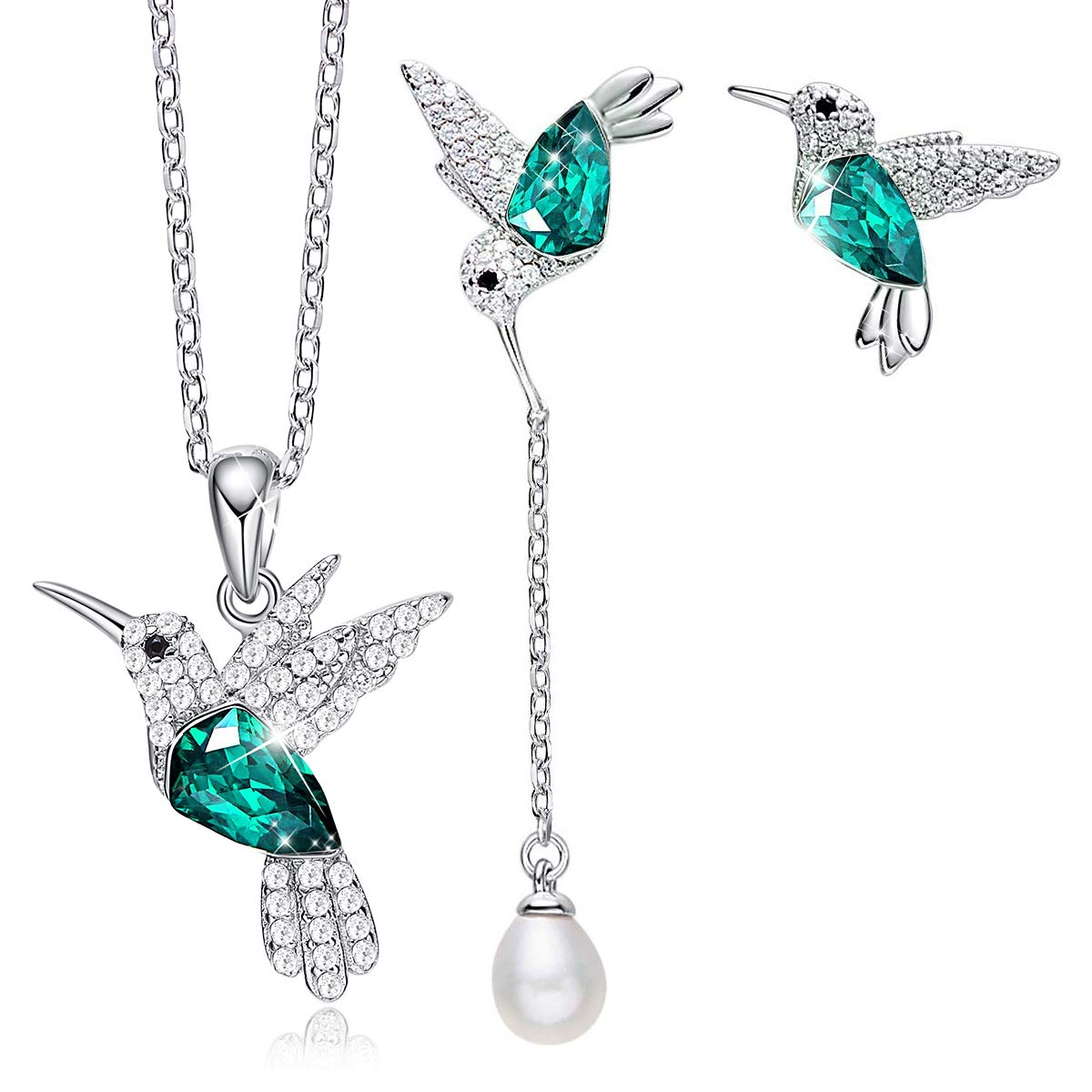 CDE S925 Sterling Silver Jewelry Set Hummingbird Pendant Necklace Pearl Earrings Sets Embellished with Crystals from Swarovski Fine Jewelry Gifts for Women