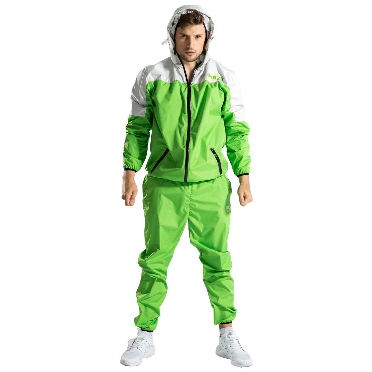 DNRZY Sauna Sweat Suits Men for Weight Lose Slimming Running Sport Suits Fat Burner Sweat Workout Clothes Fitness Durable Hooded Jacket Gym Training, 2XL by DNRZY (Image #1)