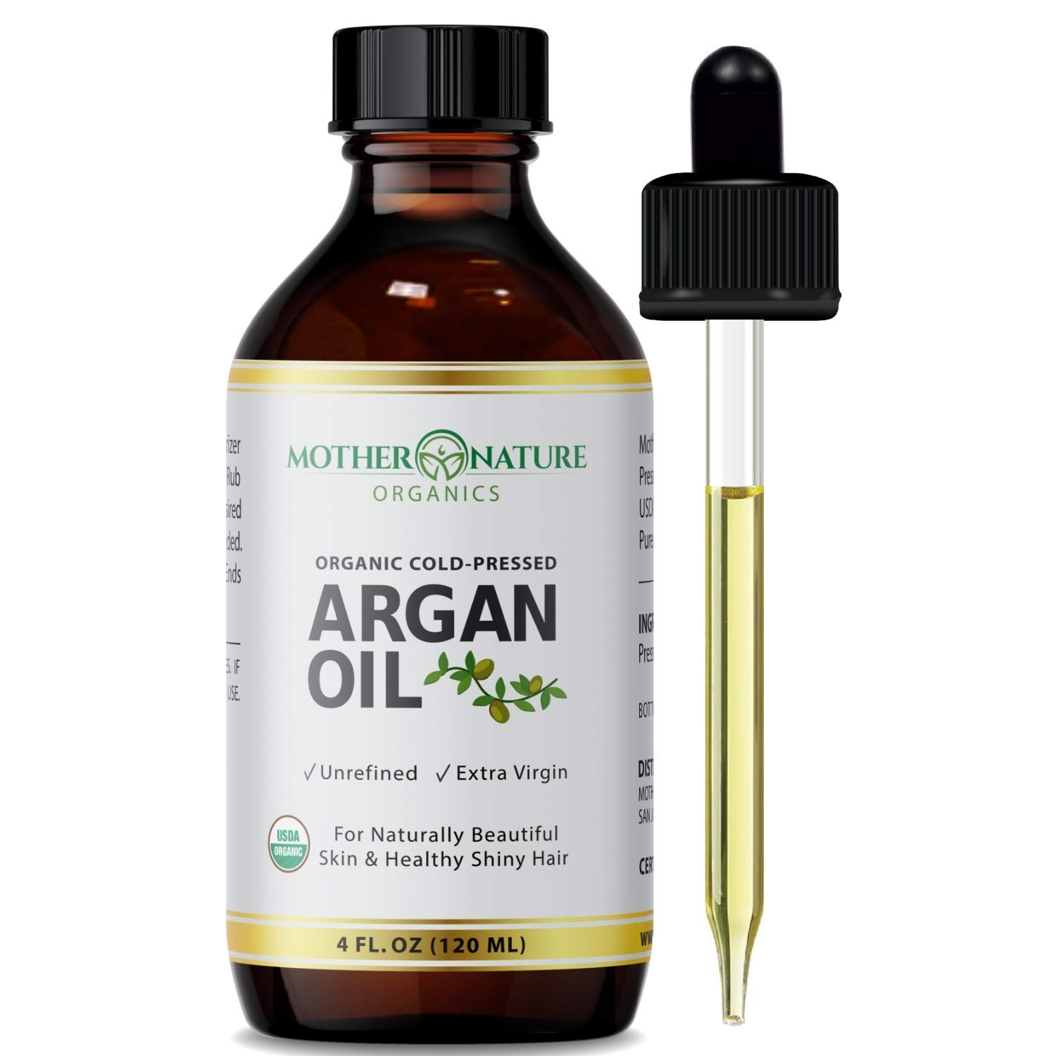 Argan Oil - 100% Pure Argan Oil for Hair, Face, Skin & Nails (4oz) - USDA Certified Organic Argan Oil of Morocco, Cold Pressed, Vegan, Non-GMO, Unfiltered & Natural Anti-Aging Moisturizer