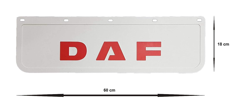 Guardabarros de goma resistente 60 x 18 cm cami/ón 2 unidades color blanco con remolque cami/ón