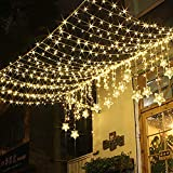 TOFU 100 LED Star Window Curtain String Light Wedding Party Home Garden Bedroom Outdoor Indoor Wall Decorations, Warm White