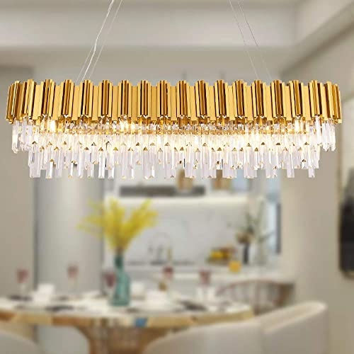 MEELIGHTING W51″ Luxury Modern Crystal Linear Chandelier Lights Pendant Ceiling Light Oval Raindrop Contemporary Chandeliers Lighting Fixture - the best living room chandelier for the money
