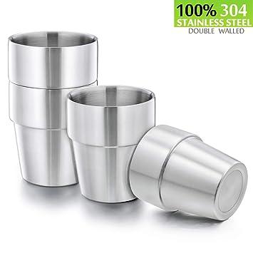 Amazon.com: Tazas de acero inoxidable 18/8 para niños (doble ...