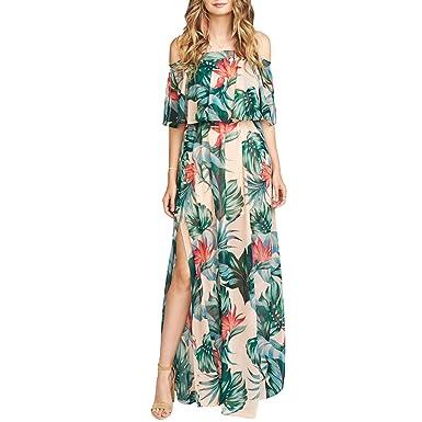 f6277cd5dcf1 VERO VIVA Women's Tropical Print Strapless Maxi Dress Double Layered Side  Split(S,Floral