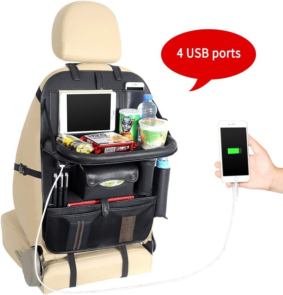 Yinleader Car Seat Protector Backseat Organizer with Tablet Holder and 4 USB Charging Port, Car Organizer for Kids Baby Toddlers Toy Bottles Storage Foldable Dining Table,Family Road Trip Travel