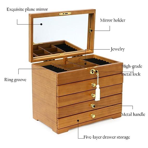Wooden Jewelry Box Nan Madera de Madera Bloqueada Color ...