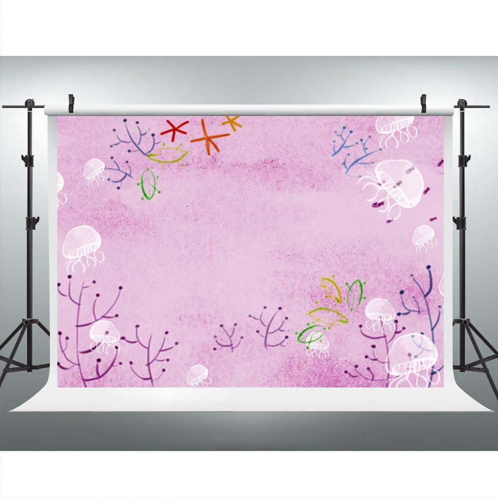 カートゥーン 海洋生物背景 写真用 9x6フィート パープルクラゲ背景 テーマパーティー YouTubeスタジオ小道具 HXLU079   B07MX4Q5DY
