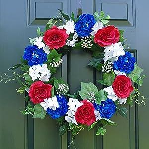 """ES ESSENTIALS Patriotic Wreath 24"""" Rose Peony Hydrangea 27"""