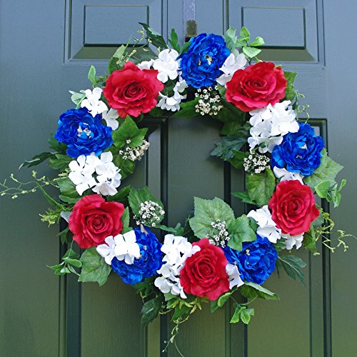 White Artificial Wreath - ES ESSENTIALS Patriotic Wreath 24