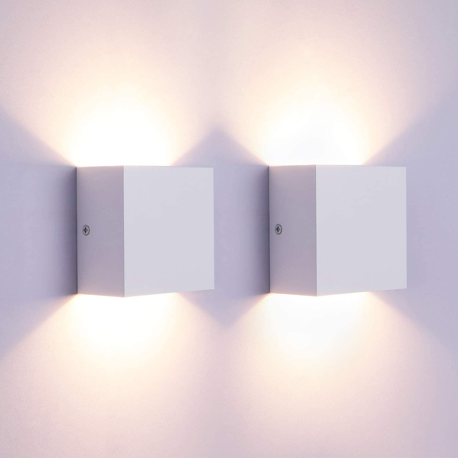 Lightess Modern Wall Sconce 10W White Hardwired, Set of 2 Up Down Wall Mount Lights Indoor Mini Metal LED Wall Lamp for Living Room Bedroom Hallway Decor, Warm White, O1181TP