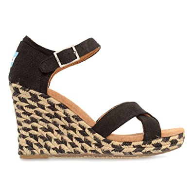 e529b28e66a TOMS - Womens Wedge in Black Mixed Rope, Size: 9.5 B(M) US, Color: Black  Mixed Rope