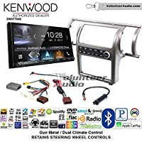 Volunteer Audio Kenwood DMX7704S Double Din Radio Install Kit with Apple CarPlay Android Auto Bluetooth Fits 2003-2004 Infiniti G35 (Gun Metal) (Dual zone A/C controls)
