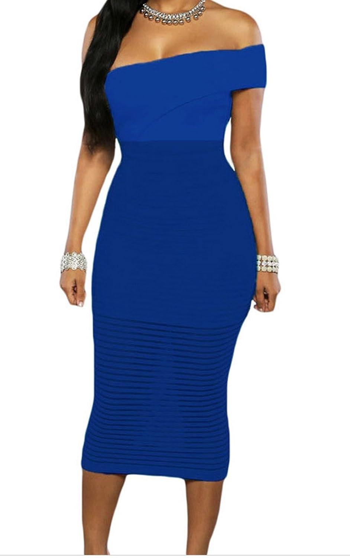 FQHOME Womens Royal Blue Single Shoulder Sheer Striped Midi Dress