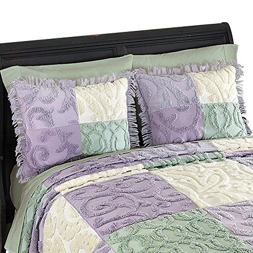 Mariel Patchwork Chenille Fringe Pillow Sham, Purple, Sham