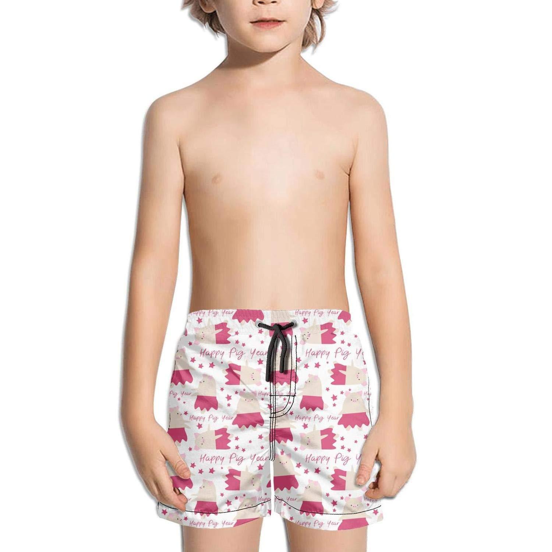 Cartoon Pig New Year Symbol Shorts Swimming Tucks for Kid Quick Dry Beach Slim Fit Swimming Tucks Reflex Brief