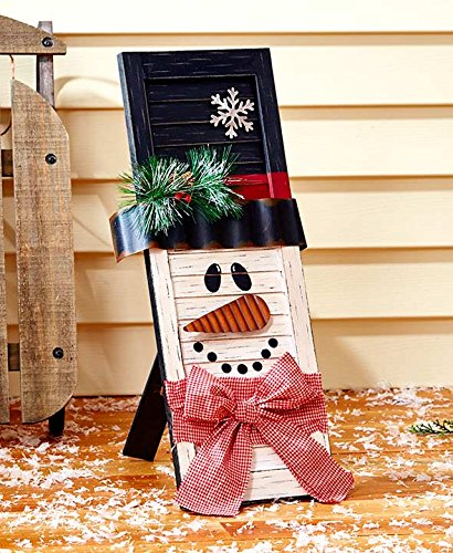 Holiday Wooden Shutters. Santa or Snowman. Almost 22