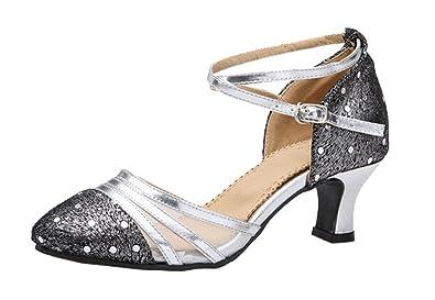 bd3e90e7e7f1 staychicfashion Womens Polka Dot Leather Dress Shoes Rubber Sole Social Dance  Shoes Prom Party Heels(